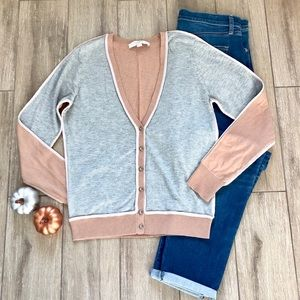 Loft V-Neck Two Tone Cardigan with Ribbon Piping